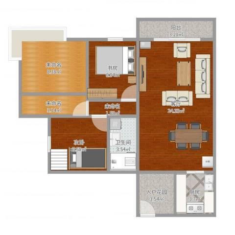 东方丽都2室2厅2卫1厨92.00㎡户型图