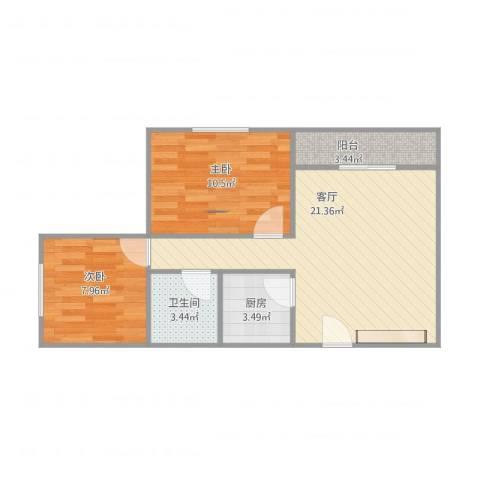 阳光人家2室1厅1卫1厨68.00㎡户型图