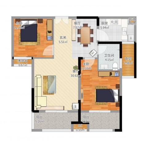 大成国际领域2室1厅1卫1厨113.00㎡户型图