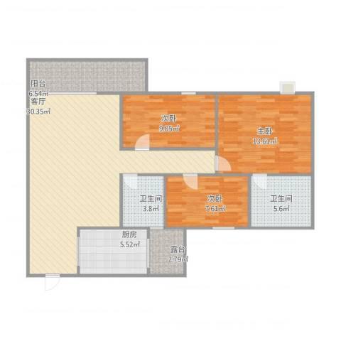 澳德蓝山花园4座5033室1厅2卫1厨115.00㎡户型图
