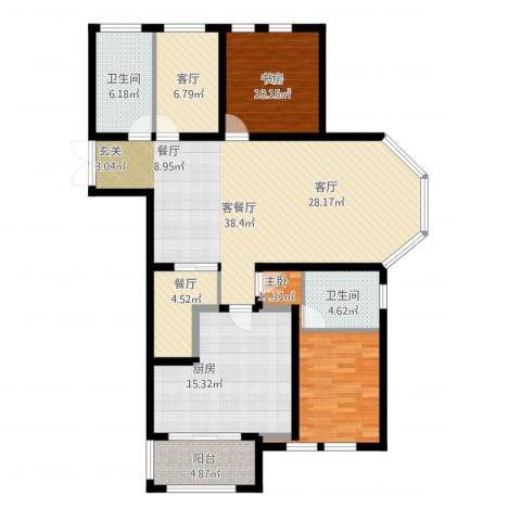 欧风丽苑2室3厅2卫1厨147.00㎡户型图