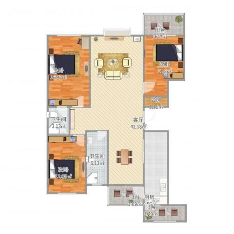 恒泰丽景3室1厅2卫1厨153.00㎡户型图