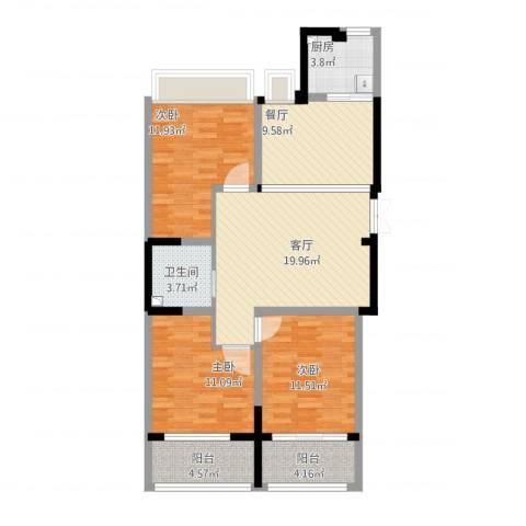 锡春华庭114平3室2厅1卫1厨114.00㎡户型图