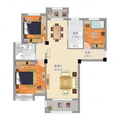 冠捷・观邸3室1厅1卫1厨118.00㎡户型图