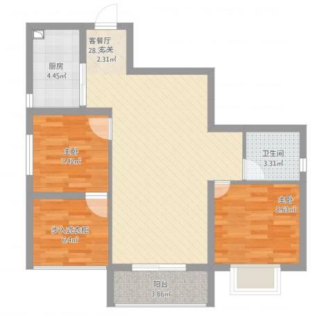 宏帆・观湖2室1厅1卫1厨90.00㎡户型图