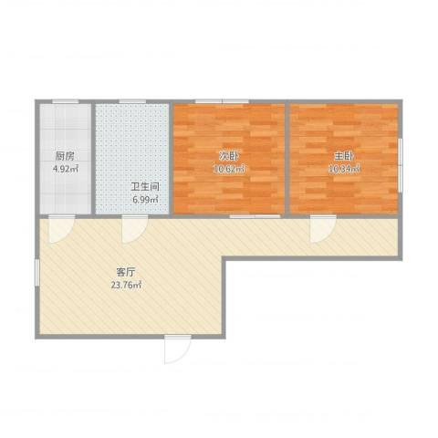 科学家公寓2室1厅1卫1厨76.00㎡户型图