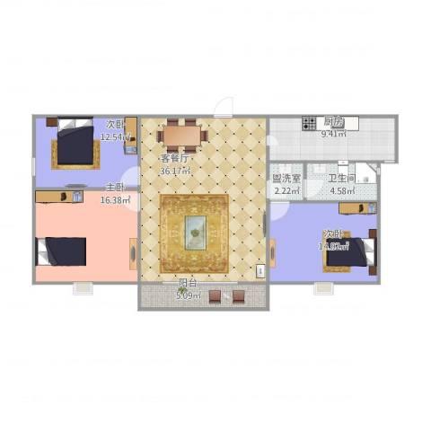 九州理想城3室2厅1卫1厨135.00㎡户型图