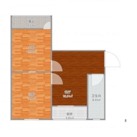工业南路单位宿舍2室1厅1卫1厨114.00㎡户型图