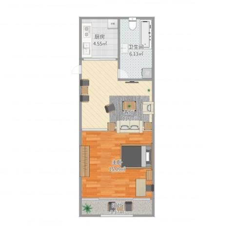 芳雅苑1室1厅1卫1厨58.00㎡户型图