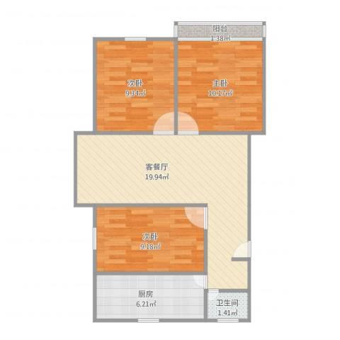 莱阳新家园3室1厅1卫1厨79.00㎡户型图