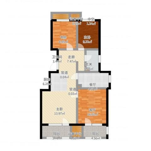 首开香溪郡3室1厅1卫1厨123.00㎡户型图