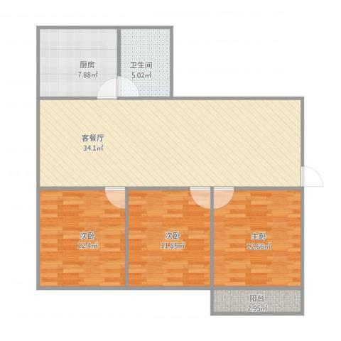 鑫泉花园3室1厅1卫1厨92.83㎡户型图