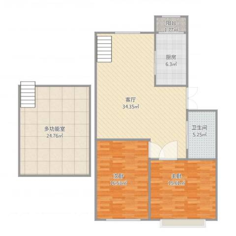 世代龙城4-6-22室1厅1卫1厨139.00㎡户型图