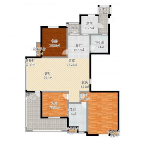 高新名门3室1厅2卫1厨230.00㎡户型图