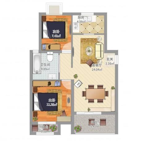 中大简界2室1厅1卫1厨84.00㎡户型图