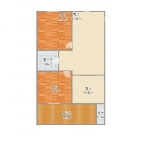 翠园新村2室2厅1卫1厨157.00㎡户型图