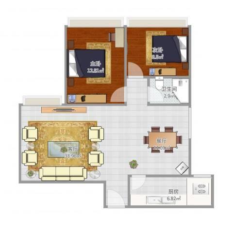 金海花园两房户型图2室1厅1卫1厨94.00㎡户型图
