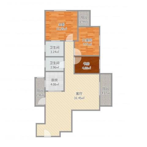 华丽花园3室1厅2卫1厨102.00㎡户型图