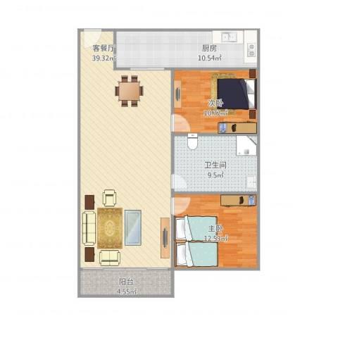 加和领御名苑2室1厅1卫1厨116.00㎡户型图