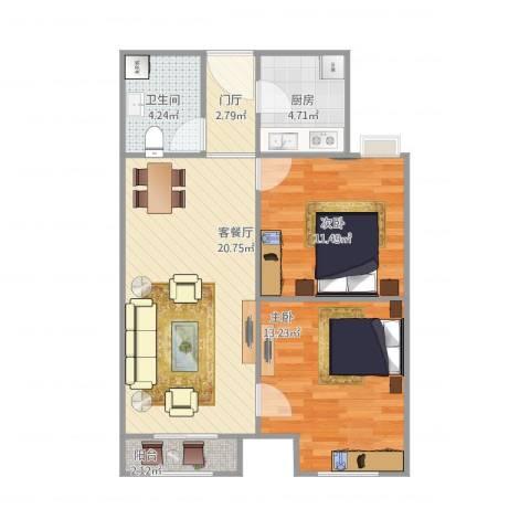 东方家园2室1厅1卫1厨80.00㎡户型图