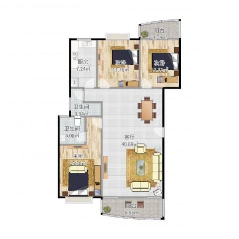 皓晖花园3室1厅2卫1厨111.76㎡户型图