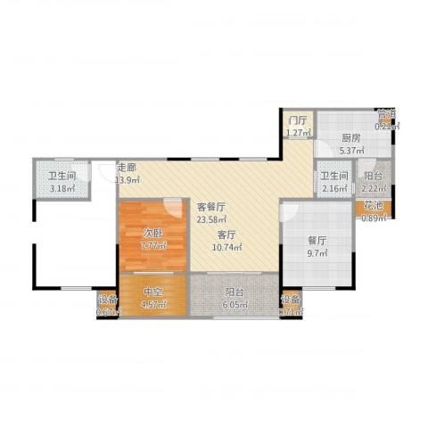 天正天御溪岸1室2厅2卫1厨94.00㎡户型图