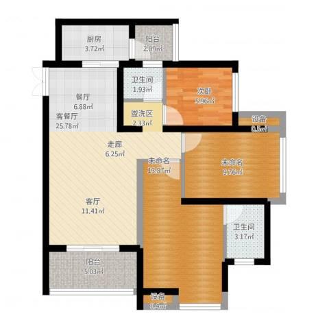 金辉悦府1室1厅2卫1厨94.00㎡户型图