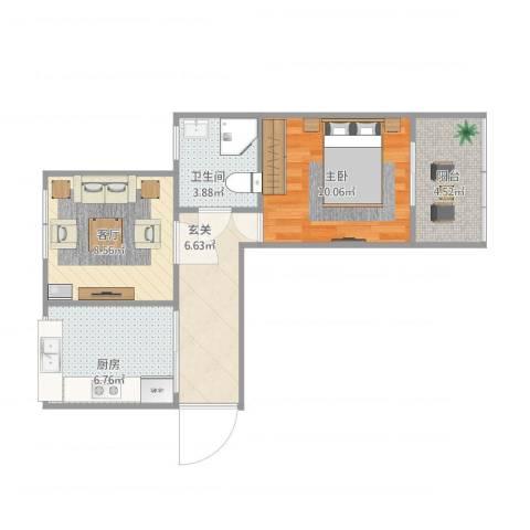 绿波小区1室1厅1卫1厨55.00㎡户型图