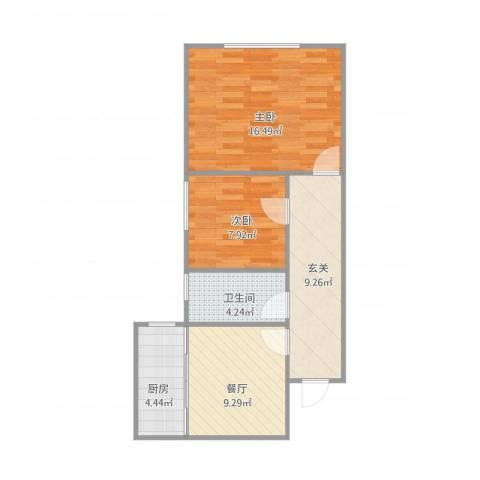 金山大厦2室1厅1卫1厨70.00㎡户型图