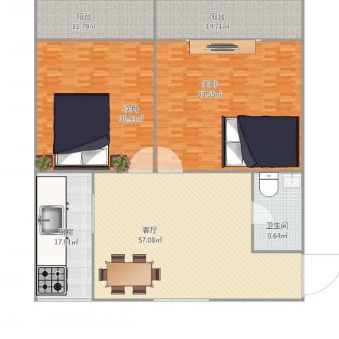 北冬瓜市2室1厅1卫1厨260.00㎡户型图