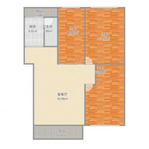 汇银城市花园3室1厅1卫1厨169.00㎡户型图