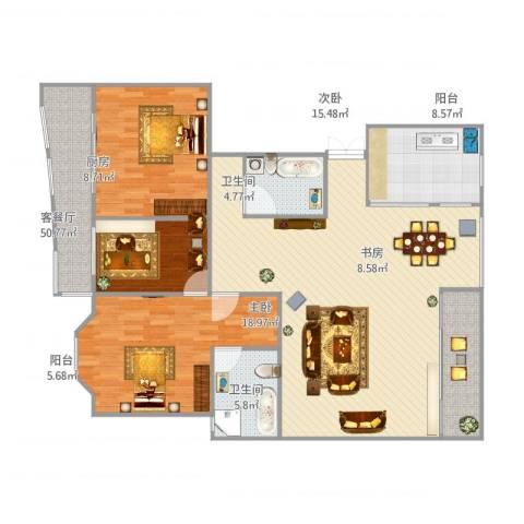 银河湾3室1厅2卫1厨170.00㎡户型图
