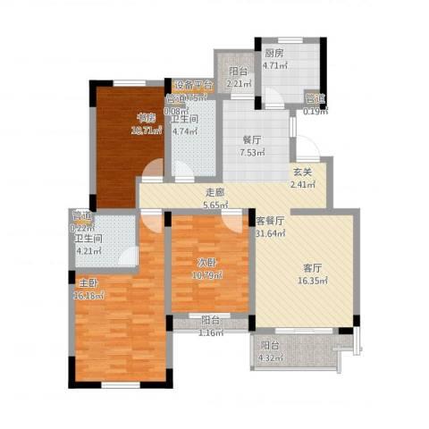 中天品园3室1厅2卫1厨135.00㎡户型图