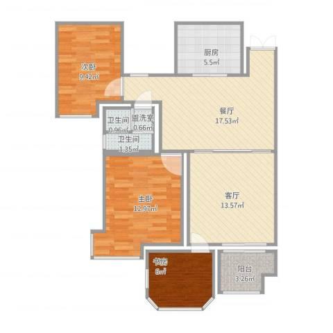 路通沁园3室3厅2卫1厨97.00㎡户型图