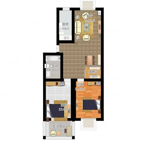 天顺园小区2室1厅1卫1厨100.00㎡户型图