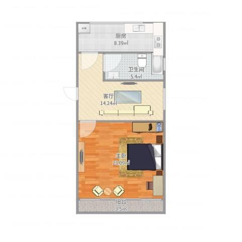 芳华路713弄小区1室1厅1卫1厨74.00㎡户型图