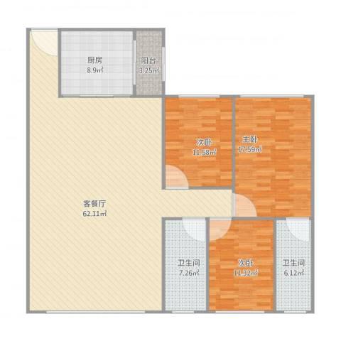 丽日华庭3室1厅2卫1厨170.00㎡户型图