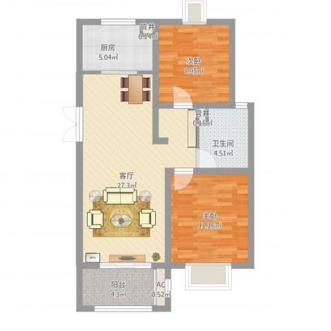 绿地观邸2室1厅4卫1厨90.00㎡户型图