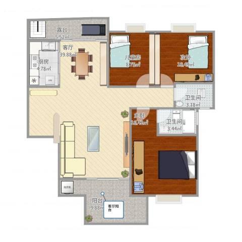 瑞景居3室1厅2卫1厨138.00㎡户型图