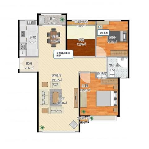绿地新里・香榭丽公馆3室1厅2卫2厨112.00㎡户型图