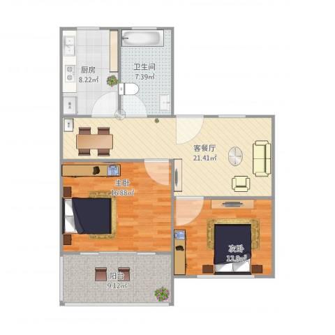 临沂五村2室1厅1卫1厨102.00㎡户型图