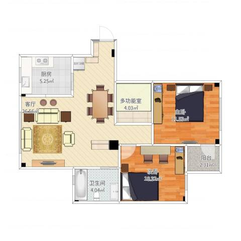 天沁家园2室1厅1卫1厨87.00㎡户型图