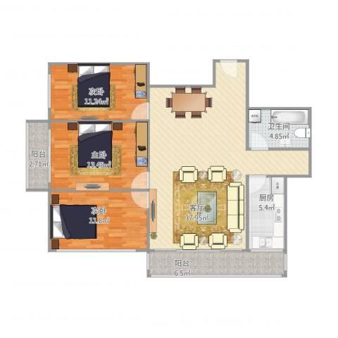 青塔西里六号院3室1厅1卫1厨126.00㎡户型图