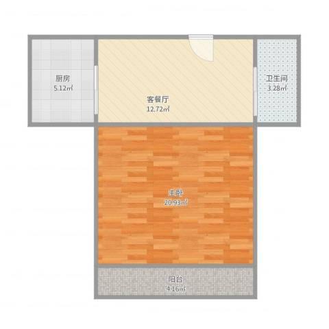 罗南二村1室1厅1卫1厨62.00㎡户型图