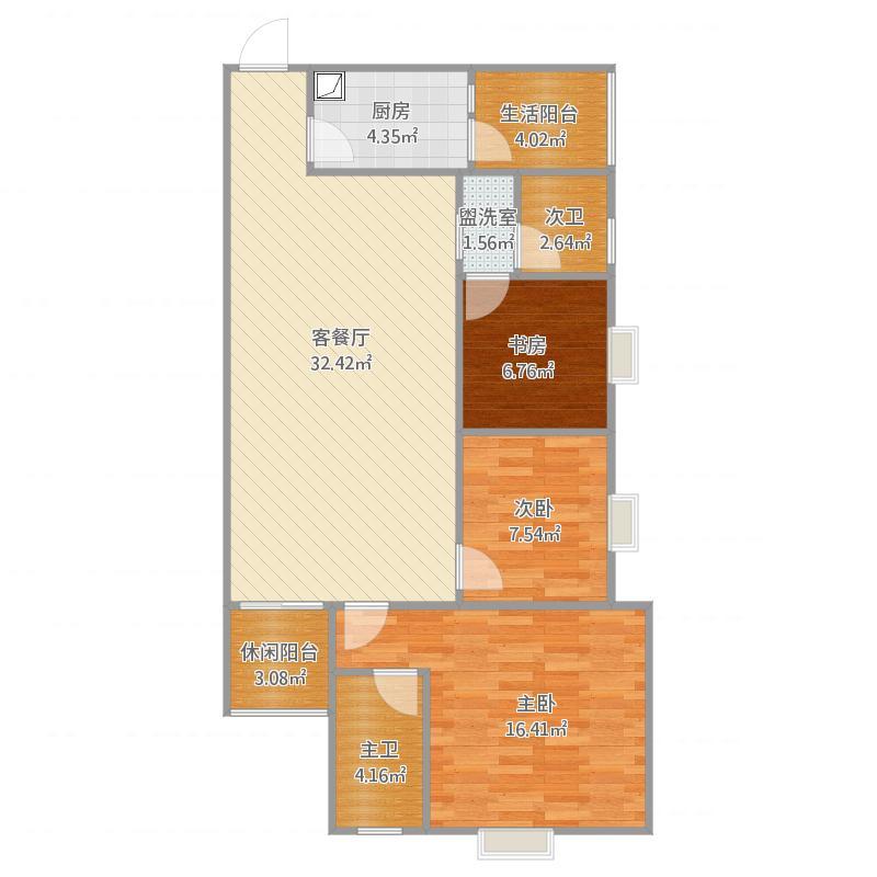花果园F21户型三房两厅两卫