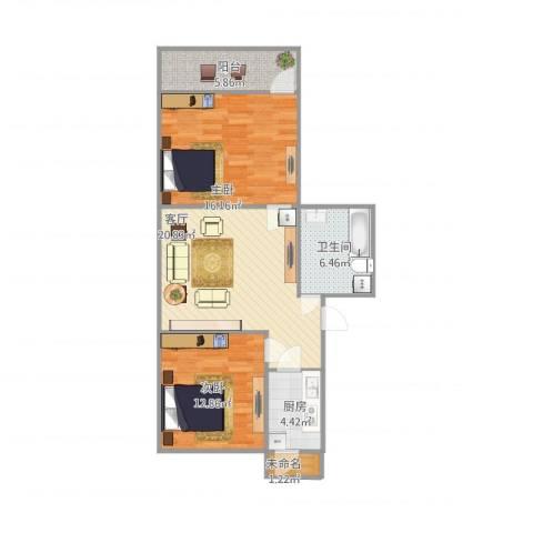 七里堡小区2室1厅1卫1厨91.00㎡户型图
