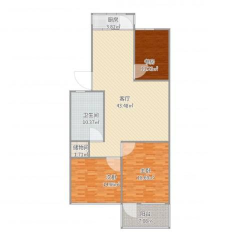 大学南苑3室1厅1卫1厨148.00㎡户型图
