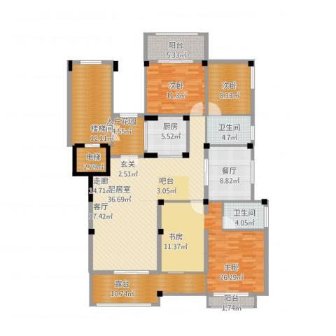 金上海湾3室1厅2卫1厨202.00㎡户型图