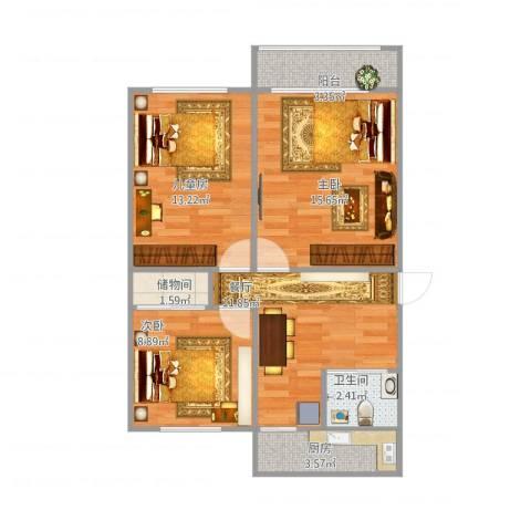 南湖新村3室1厅1卫1厨82.00㎡户型图