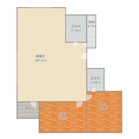 弘基书香园三期2室1厅2卫1厨418.00㎡户型图